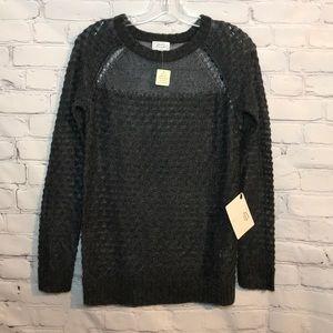 NWT Original Frenchi Gray Knit Sheer Wool Sweater